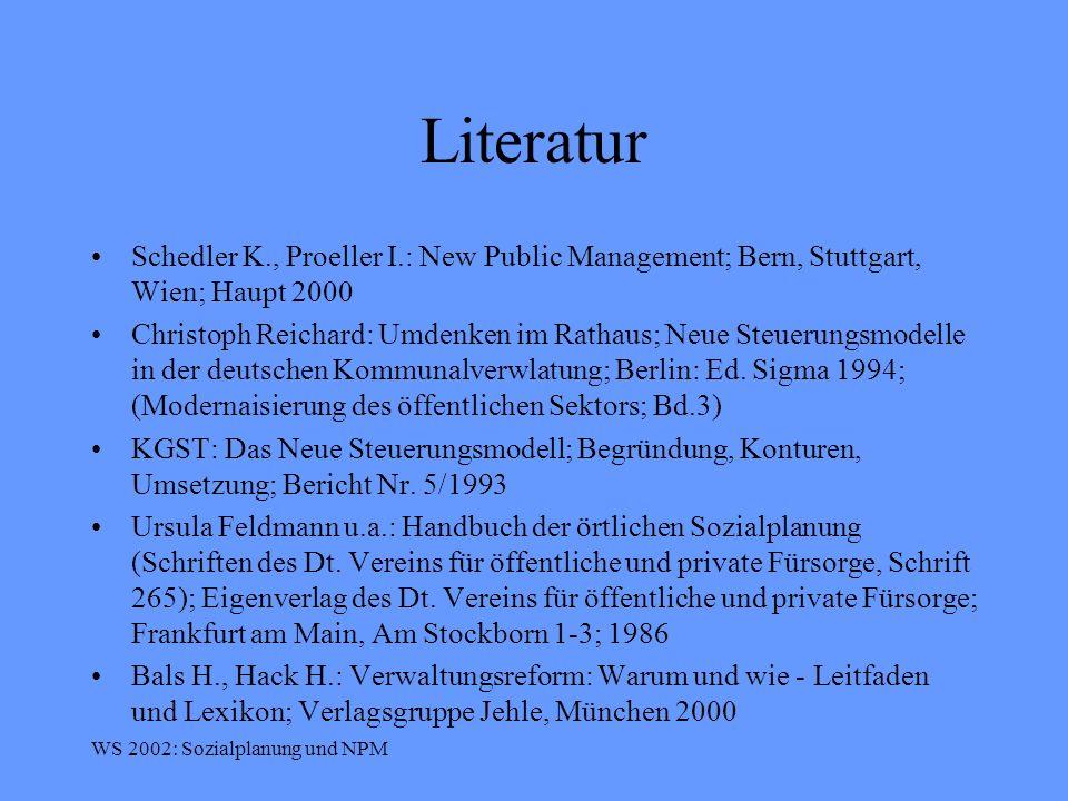 Literatur Schedler K., Proeller I.: New Public Management; Bern, Stuttgart, Wien; Haupt 2000.