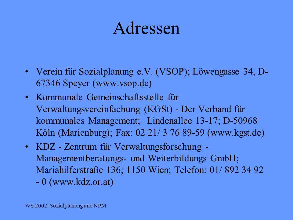 Adressen Verein für Sozialplanung e.V. (VSOP); Löwengasse 34, D-67346 Speyer (www.vsop.de)