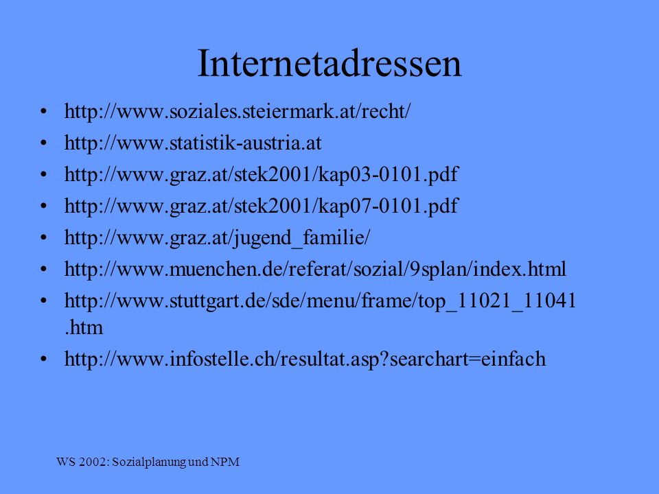 Internetadressen http://www.soziales.steiermark.at/recht/