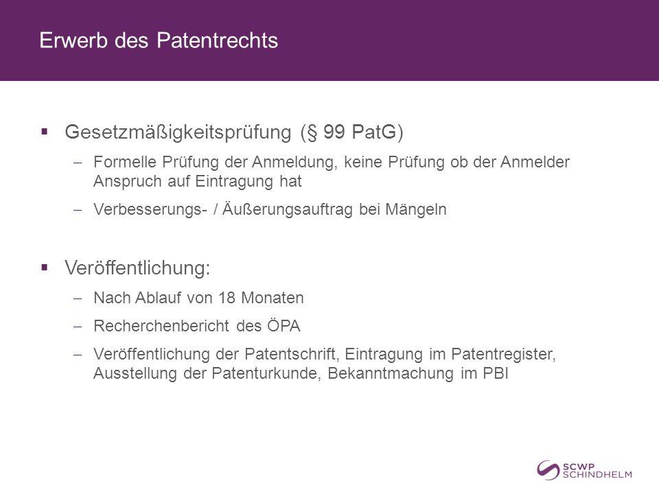 Erwerb des Patentrechts