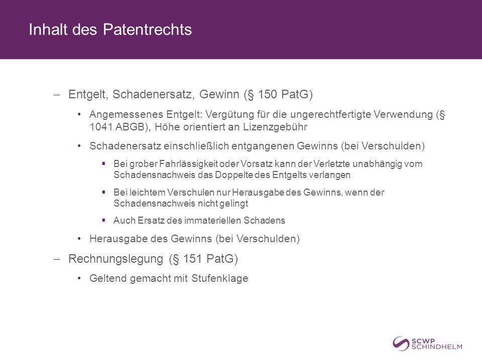 Inhalt des Patentrechts