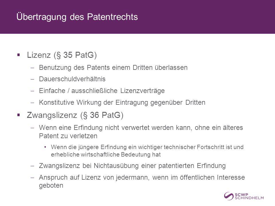 Übertragung des Patentrechts