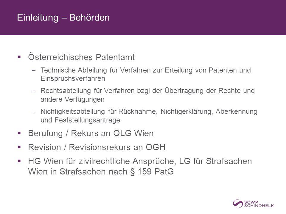 Einleitung – Behörden Österreichisches Patentamt
