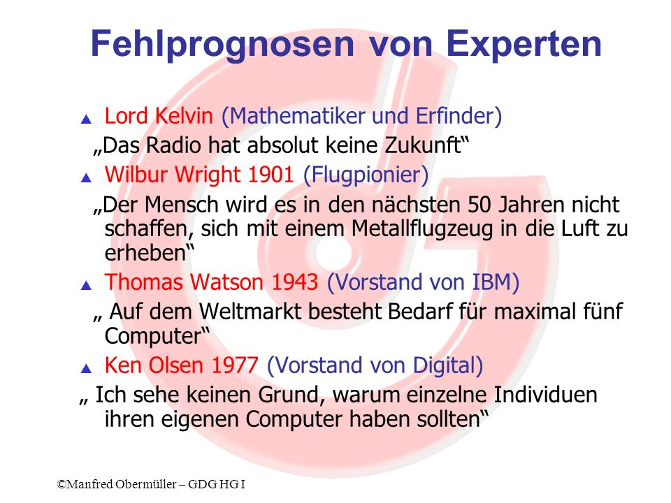 Fehlprognosen von Experten