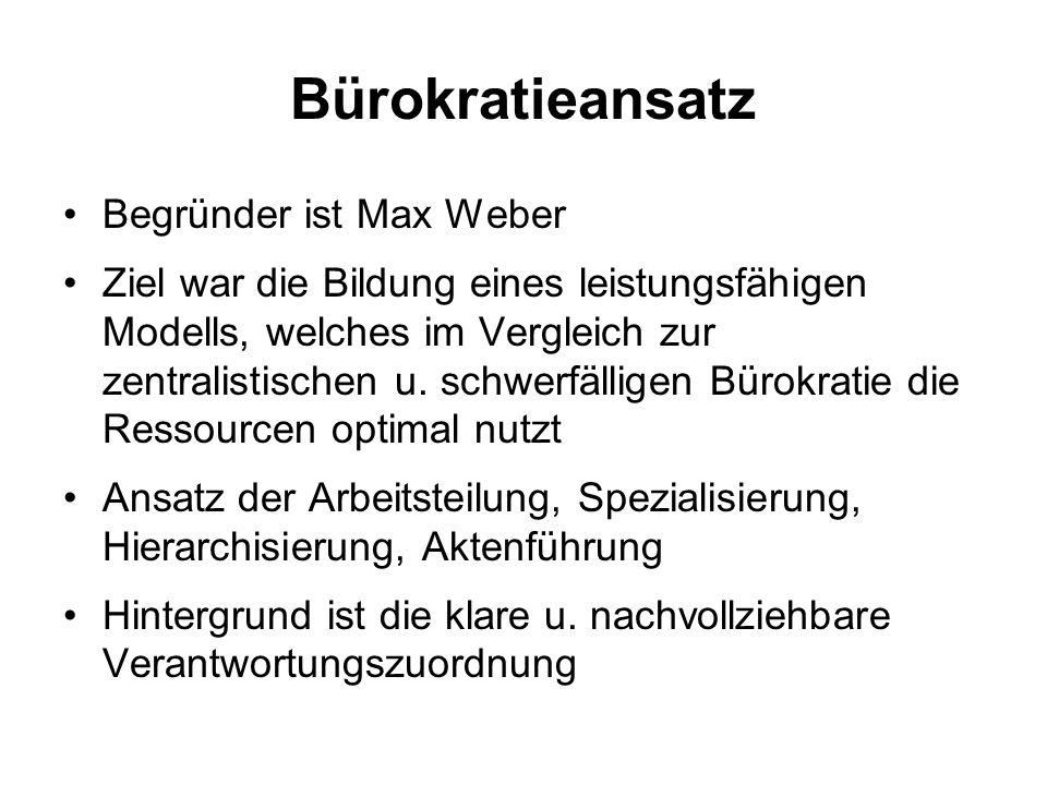 Bürokratieansatz Begründer ist Max Weber