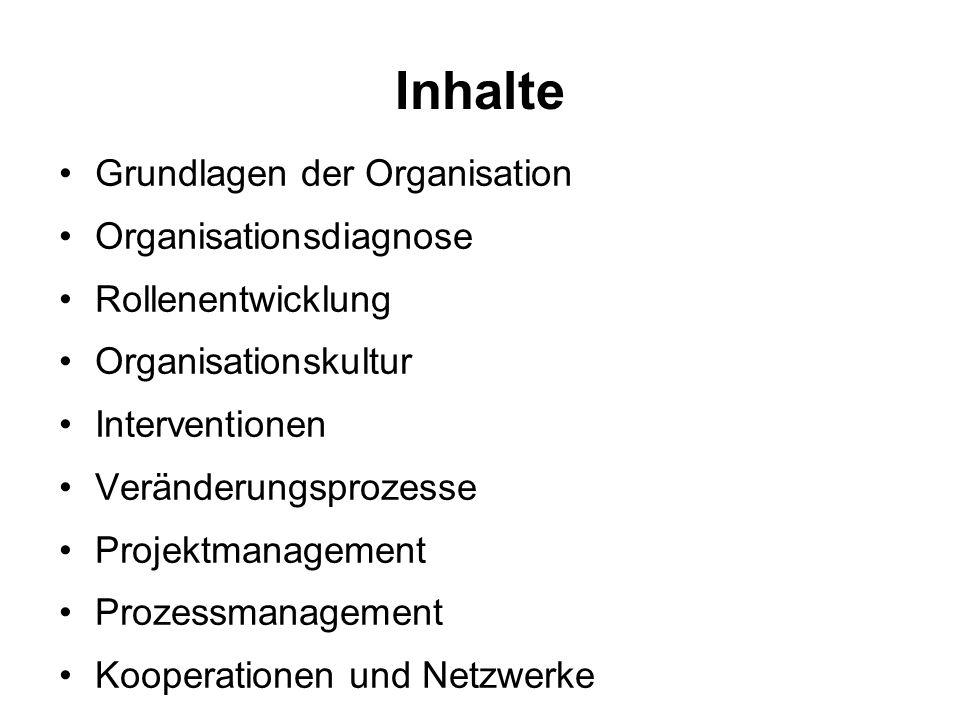 Inhalte Grundlagen der Organisation Organisationsdiagnose