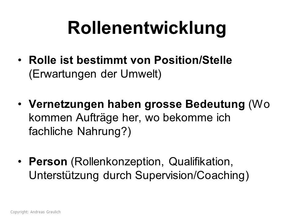 Rollenentwicklung Rolle ist bestimmt von Position/Stelle (Erwartungen der Umwelt)