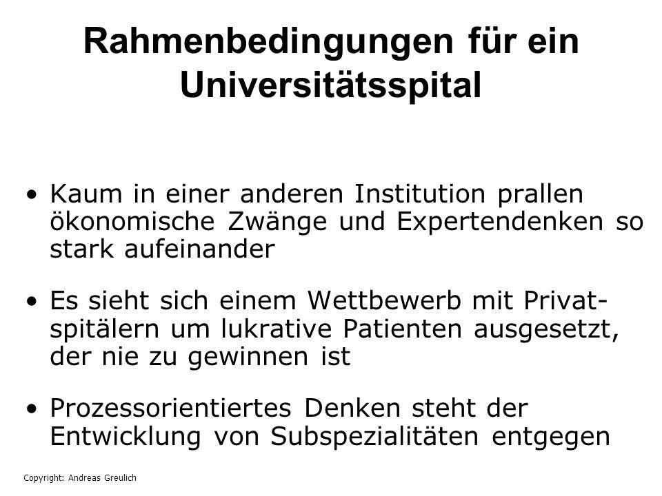 Rahmenbedingungen für ein Universitätsspital