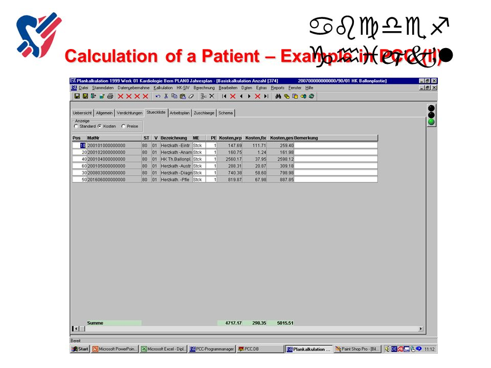 Calculation of a Patient – Example in PCC (II)