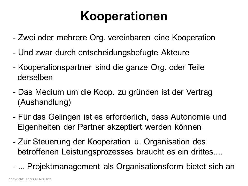 Kooperationen Zwei oder mehrere Org. vereinbaren eine Kooperation