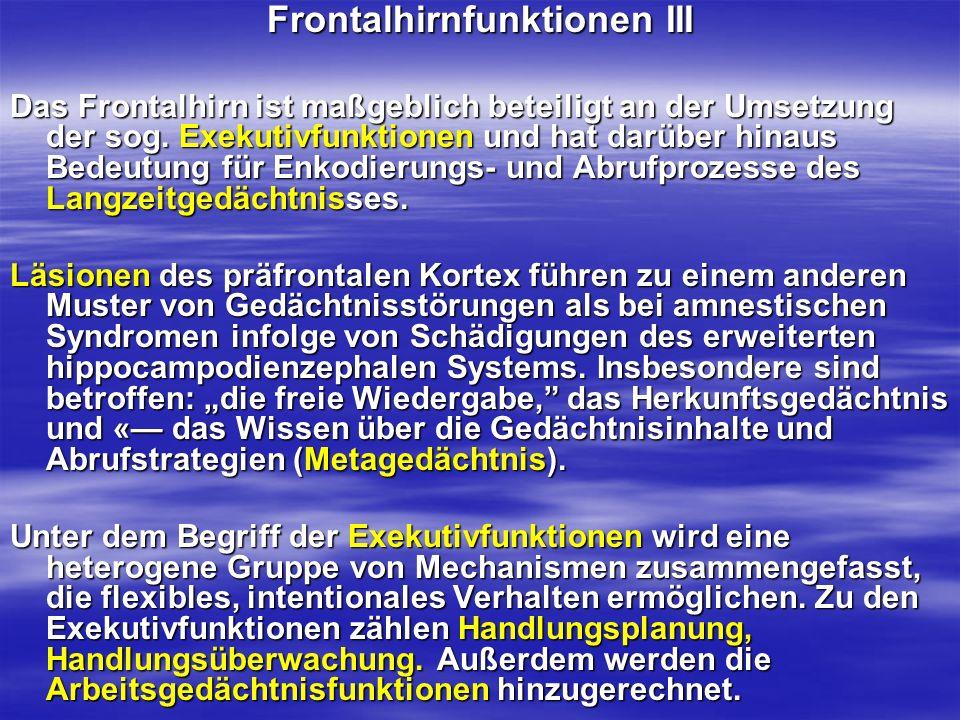 Frontalhirnfunktionen III