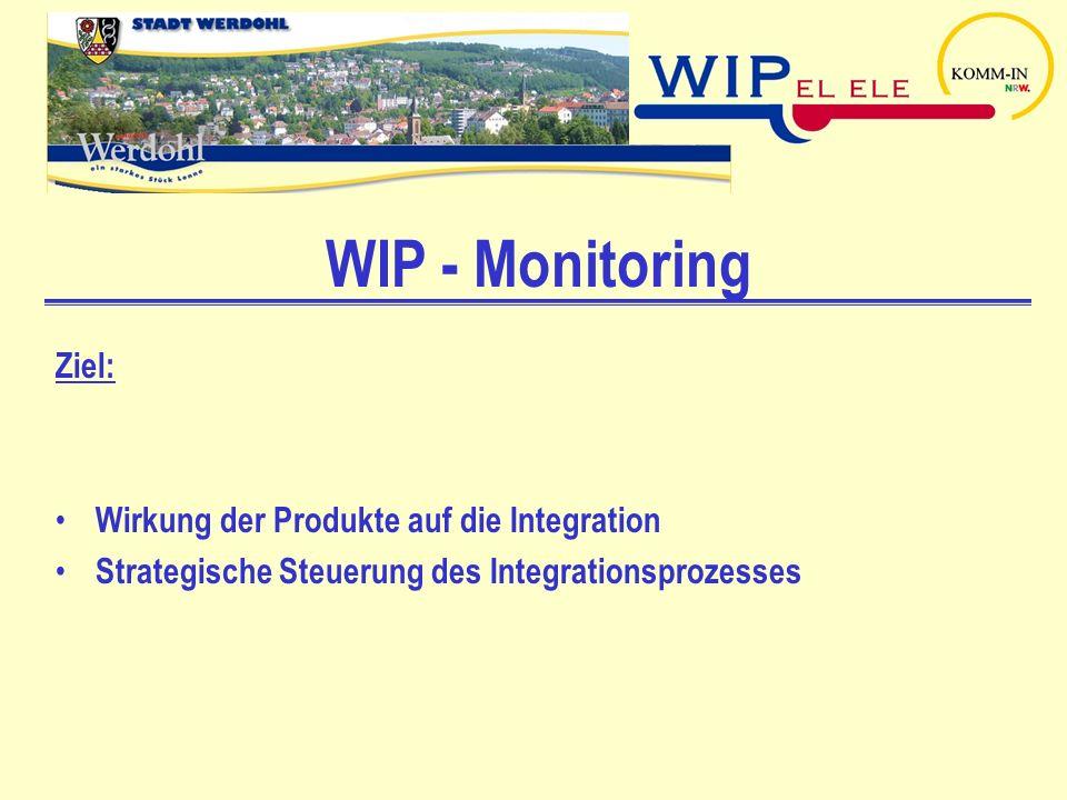 WIP - Monitoring Ziel: Wirkung der Produkte auf die Integration