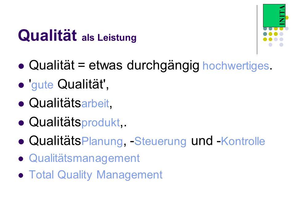 Qualität als Leistung Qualität = etwas durchgängig hochwertiges.