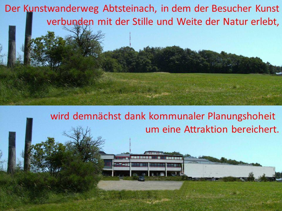 Der Kunstwanderweg Abtsteinach, in dem der Besucher Kunst verbunden mit der Stille und Weite der Natur erlebt,