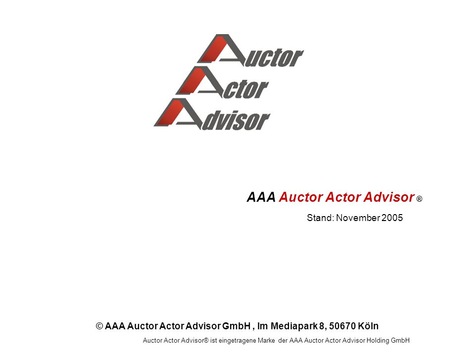 AAA Auctor Actor Advisor ®