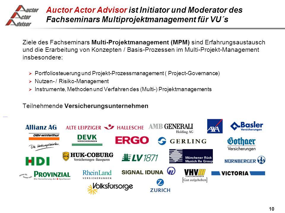 Auctor Actor Advisor ist Initiator und Moderator des Fachseminars Multiprojektmanagement für VU´s