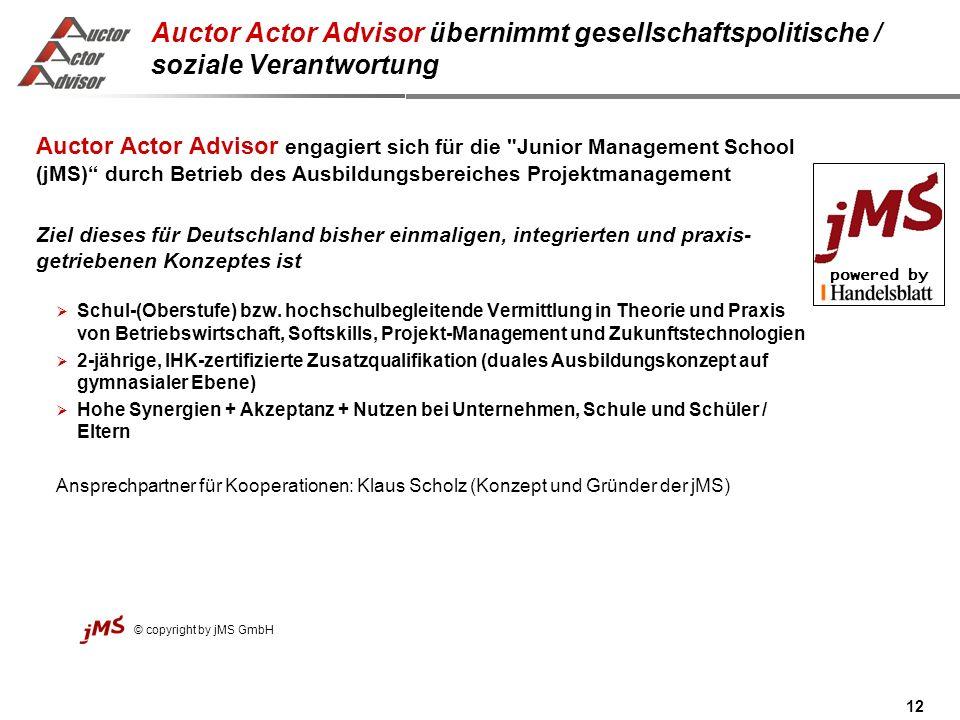 Auctor Actor Advisor übernimmt gesellschaftspolitische / soziale Verantwortung