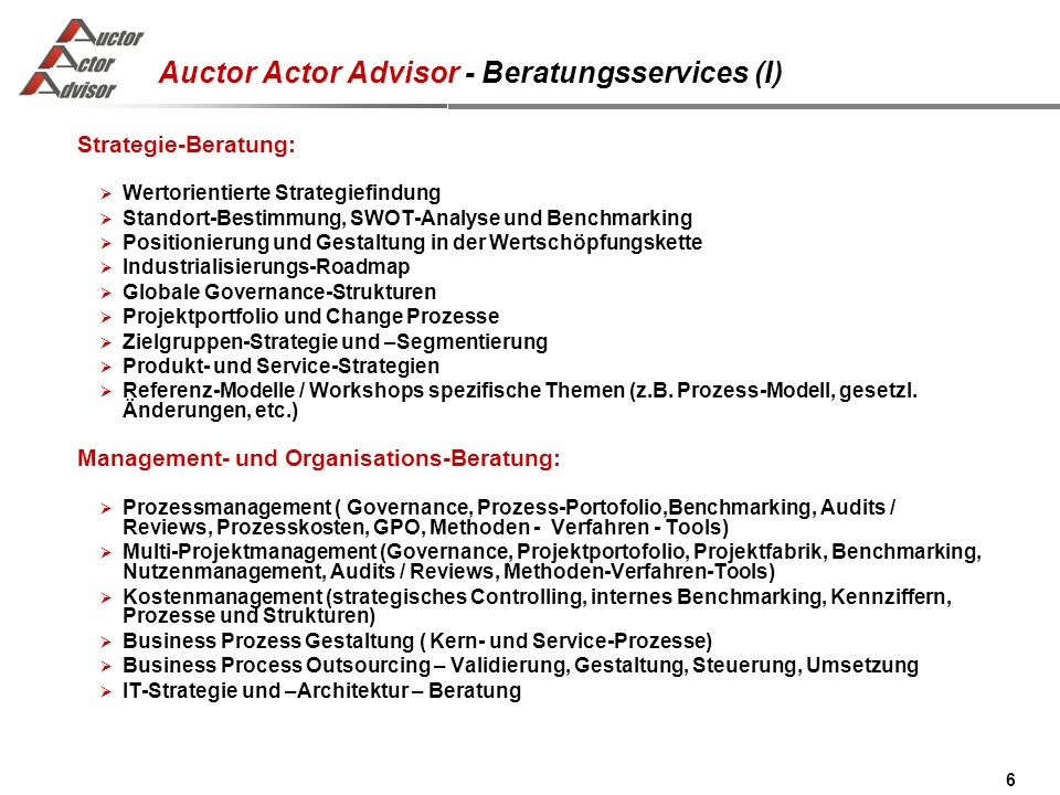 Auctor Actor Advisor - Beratungsservices (I)