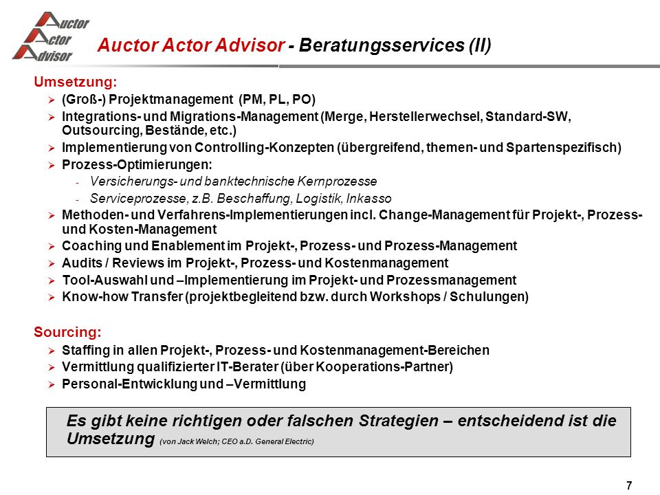 Auctor Actor Advisor - Beratungsservices (II)