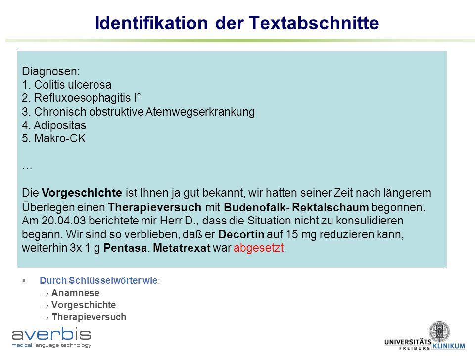 Identifikation der Textabschnitte