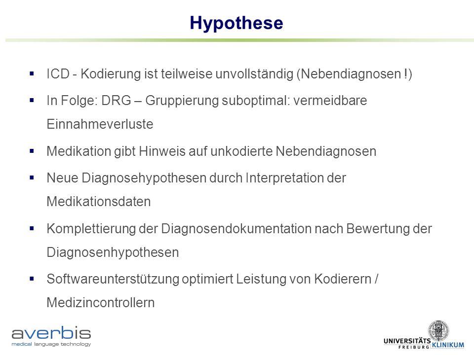 Hypothese ICD - Kodierung ist teilweise unvollständig (Nebendiagnosen !) In Folge: DRG – Gruppierung suboptimal: vermeidbare Einnahmeverluste.