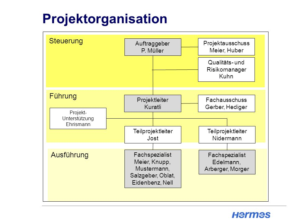Projektorganisation Steuerung Führung Ausführung Auftraggeber