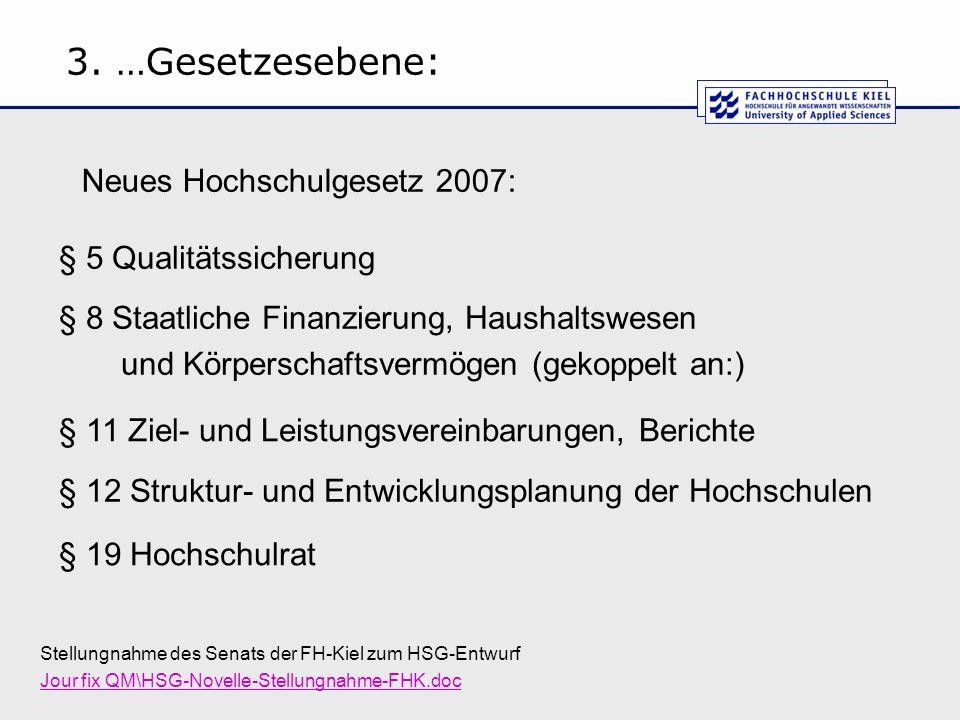 3. …Gesetzesebene: Neues Hochschulgesetz 2007: § 5 Qualitätssicherung
