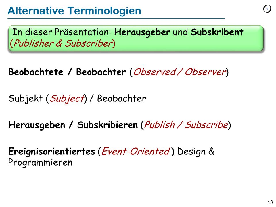 Alternative Terminologien