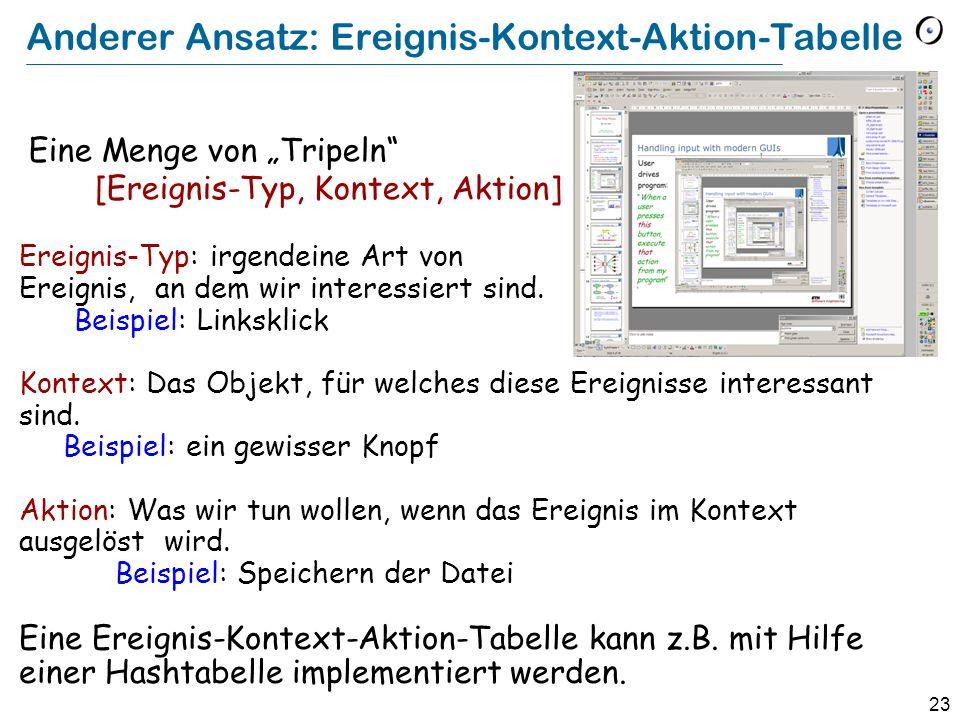 Anderer Ansatz: Ereignis-Kontext-Aktion-Tabelle