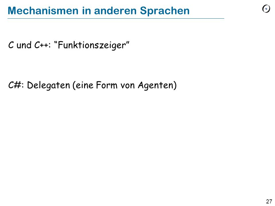 Mechanismen in anderen Sprachen