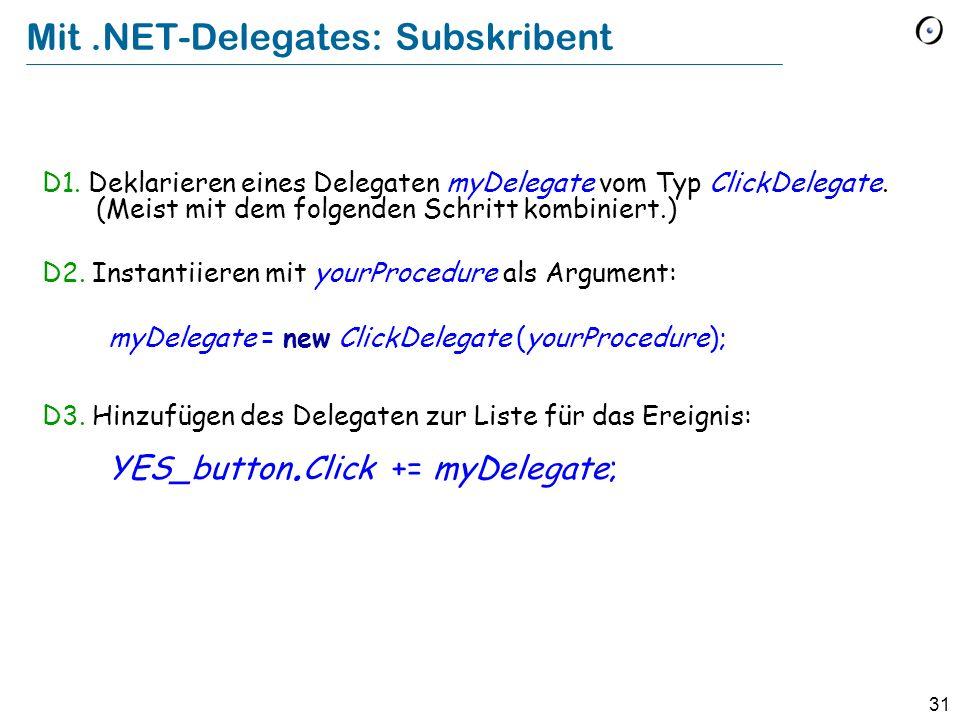 Mit .NET-Delegates: Subskribent
