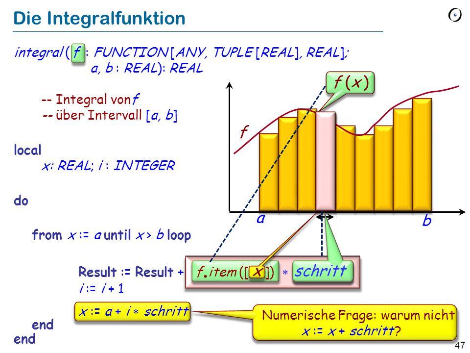 Die Integralfunktion f (x ) f a b schritt schritt x