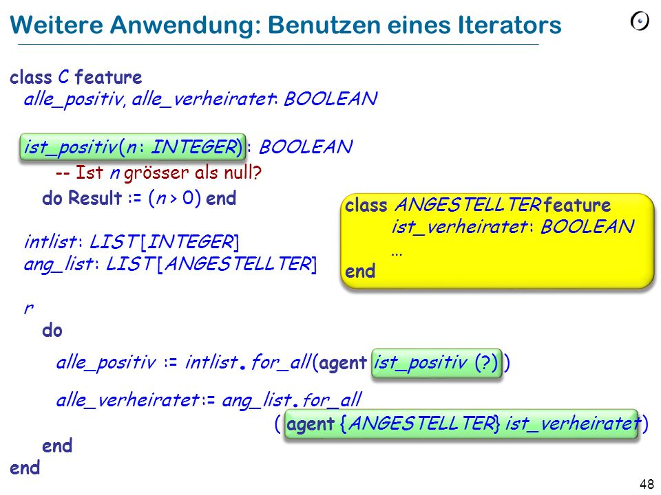 Weitere Anwendung: Benutzen eines Iterators