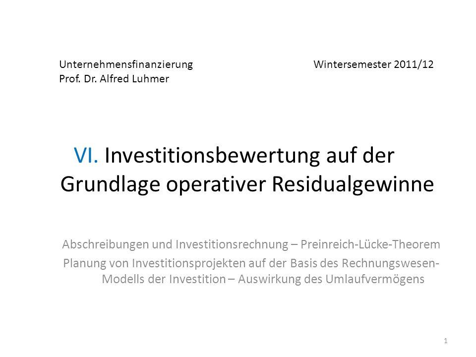 VI. Investitionsbewertung auf der Grundlage operativer Residualgewinne