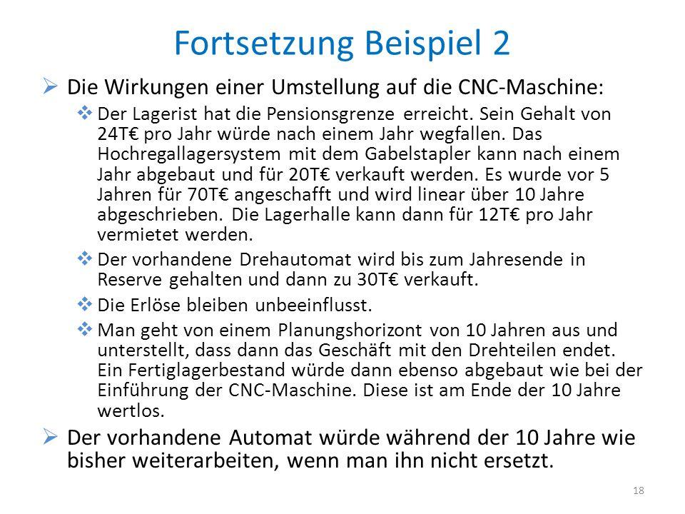 Fortsetzung Beispiel 2 Die Wirkungen einer Umstellung auf die CNC-Maschine: