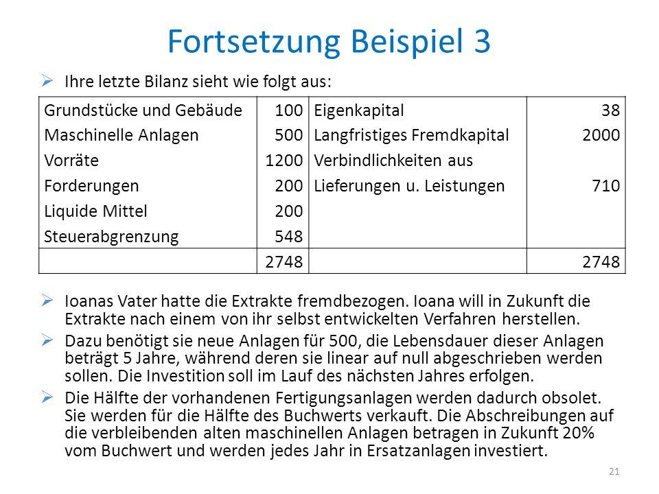 Fortsetzung Beispiel 3 Ihre letzte Bilanz sieht wie folgt aus: