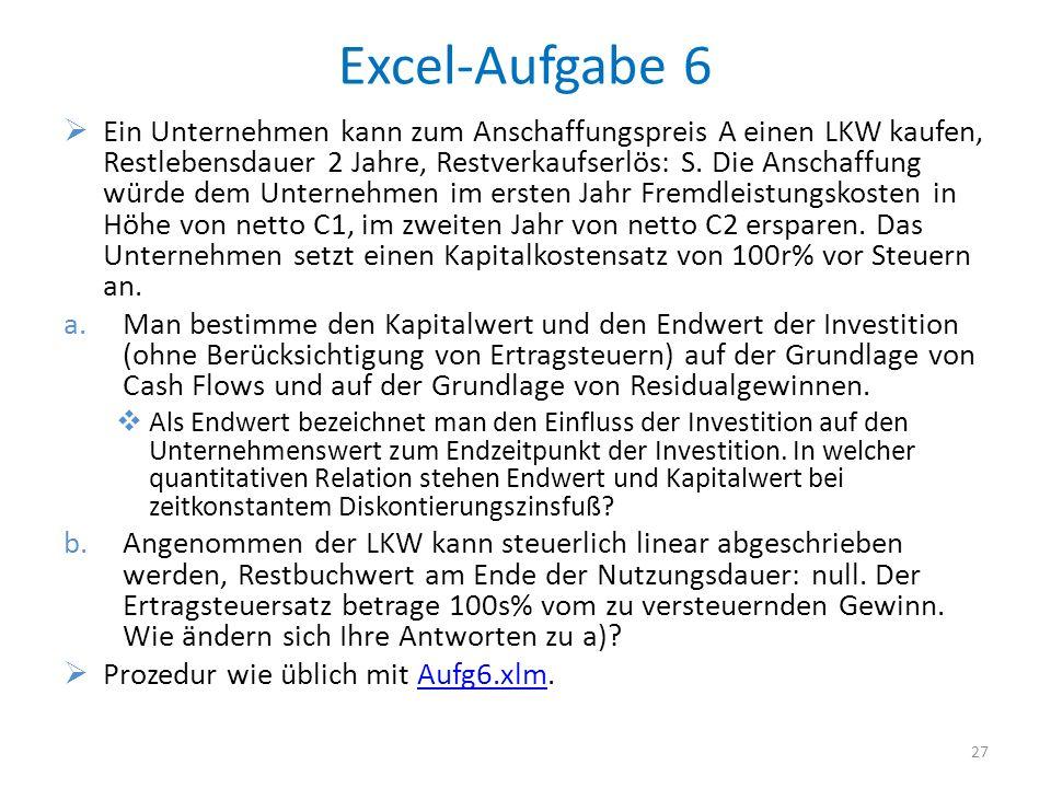 Excel-Aufgabe 6