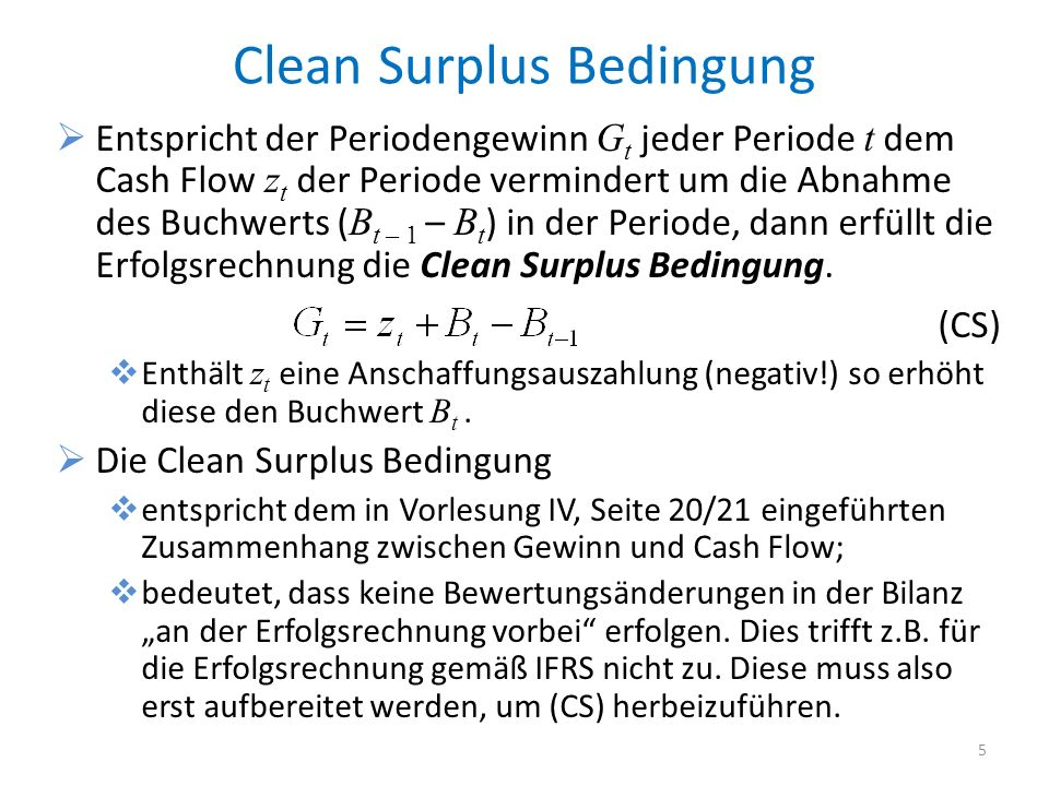 Clean Surplus Bedingung