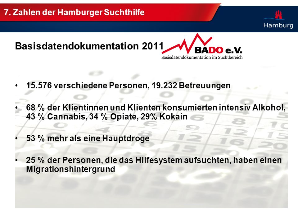 7. Zahlen der Hamburger Suchthilfe