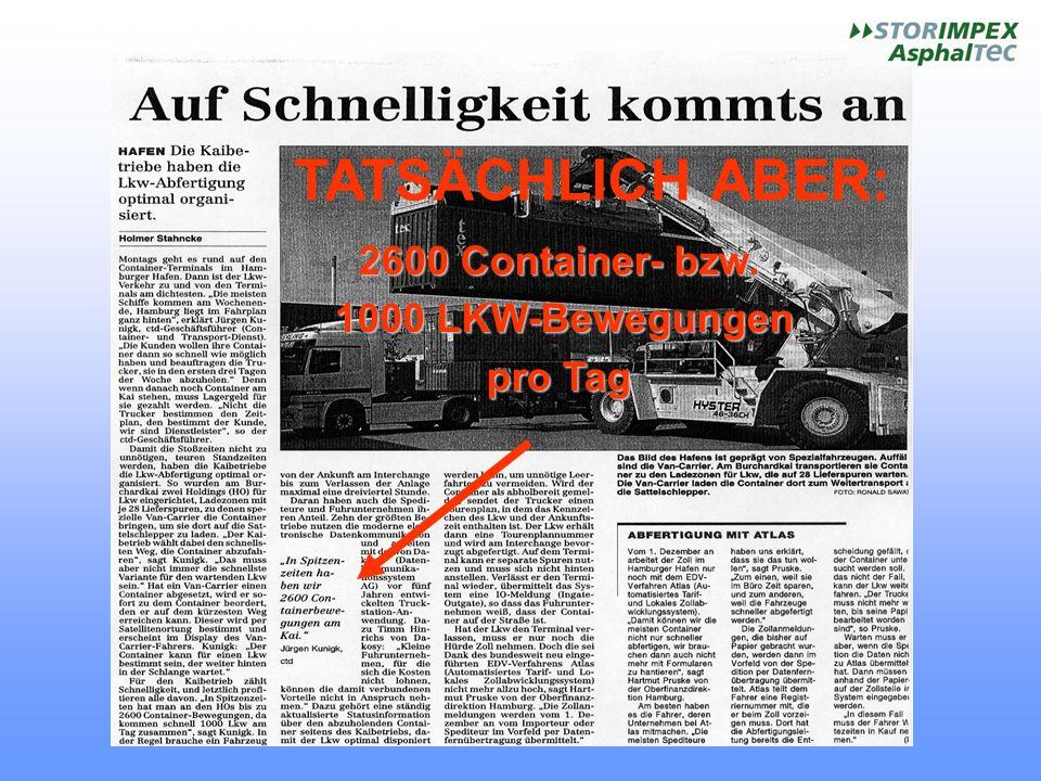 TATSÄCHLICH ABER: 2600 Container- bzw. 1000 LKW-Bewegungen pro Tag