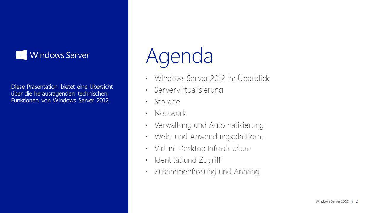 Agenda Windows Server 2012 im Überblick Servervirtualisierung Storage