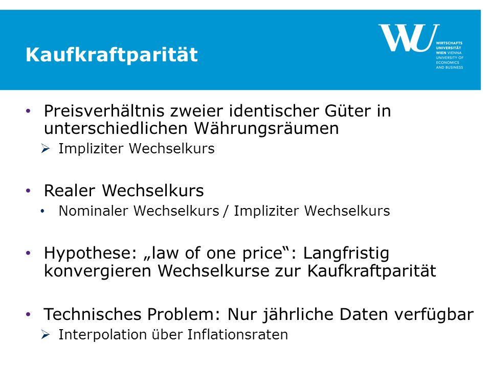 Kaufkraftparität Preisverhältnis zweier identischer Güter in unterschiedlichen Währungsräumen. Impliziter Wechselkurs.
