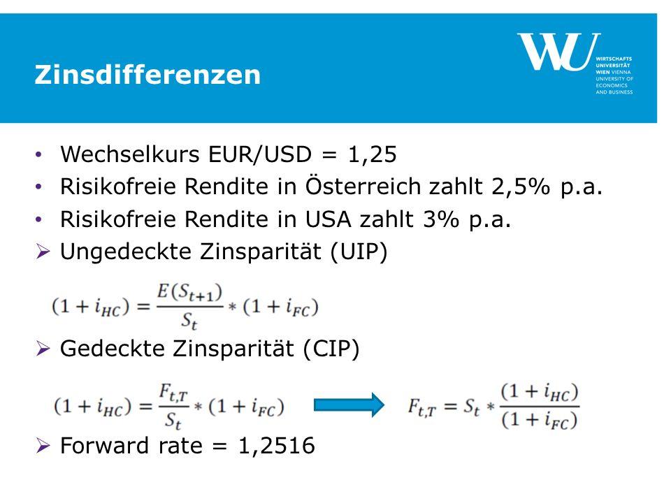 Zinsdifferenzen Wechselkurs EUR/USD = 1,25