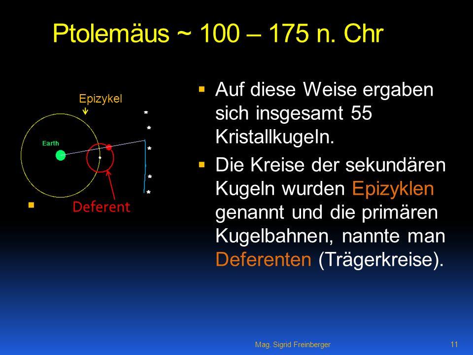 Ptolemäus ~ 100 – 175 n. Chr Auf diese Weise ergaben sich insgesamt 55 Kristallkugeln.