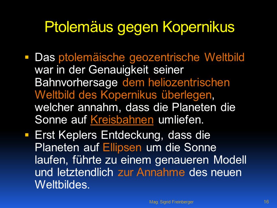 Ptolemäus gegen Kopernikus