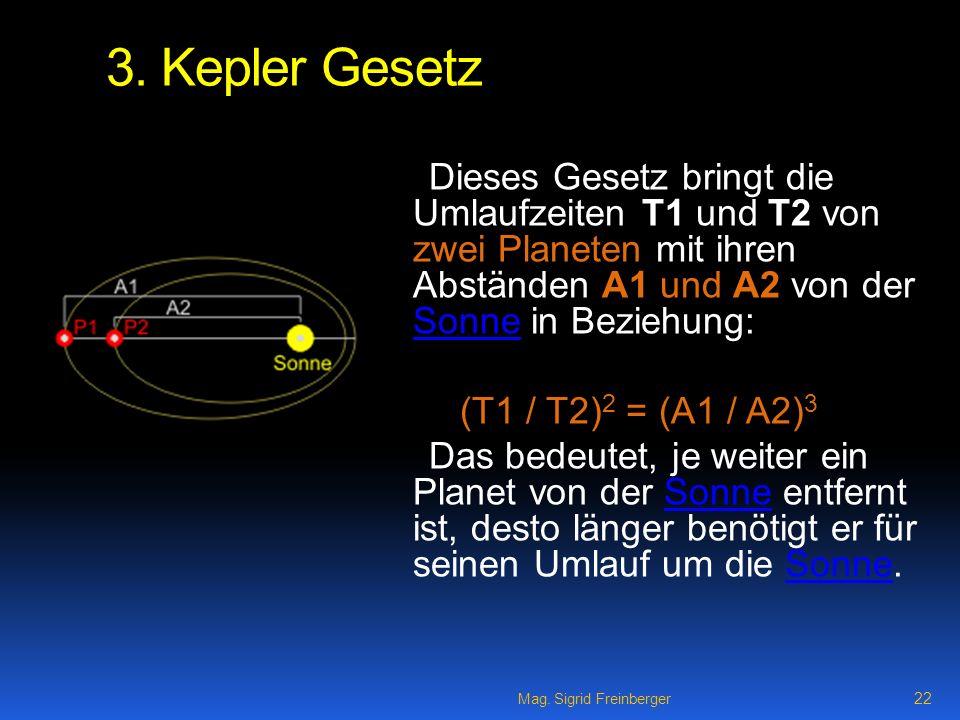 3. Kepler Gesetz Dieses Gesetz bringt die Umlaufzeiten T1 und T2 von zwei Planeten mit ihren Abständen A1 und A2 von der Sonne in Beziehung:
