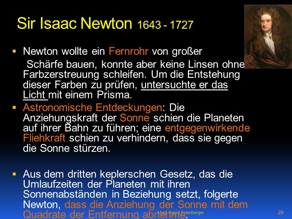 Sir Isaac Newton 1643 - 1727 Newton wollte ein Fernrohr von großer