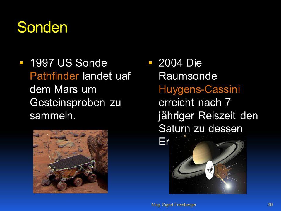 Sonden 1997 US Sonde Pathfinder landet uaf dem Mars um Gesteinsproben zu sammeln.