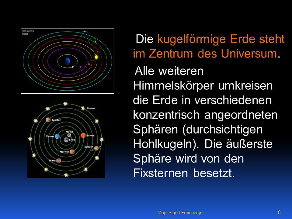 Die kugelförmige Erde steht im Zentrum des Universum