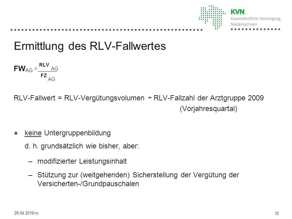 Ermittlung des RLV-Fallwertes